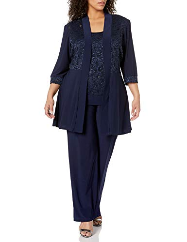 R&M Richards Women's Plus Size Lace Pant Set, Navy, 14W