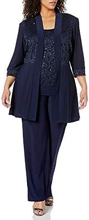 R&M Richards Womens Plus Size Lace Pant Set D