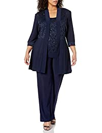 R&M Richards Womens Plus Size Lace Pant Set Dress