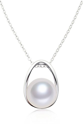 Necklace for Women Sterling Silver Freshwater Cultured Pearl Pendant Necklace 10.5mm, ()