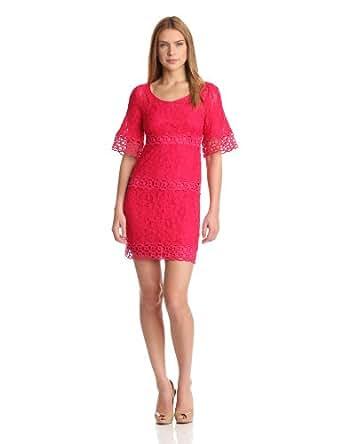 laundry BY SHELLI SEGAL Women's Petite Bell Sleeve Lace Shift Dress, Paradise Pink Multi, 2