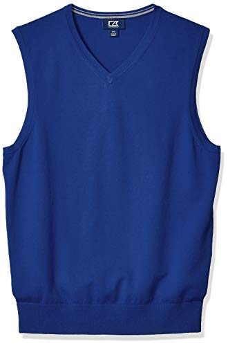 Cutter & Buck Mesh Pullover - Cutter & Buck Men's Cotton-Rich Lakemont Anti-Pilling V-Neck Sweater Vest, Tour Blue, X-Large