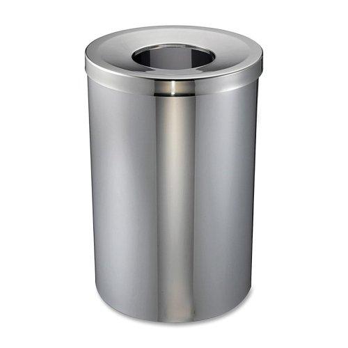Gal Trash Receptacle (Genuine Joe Open Mouth Waste Receptacle - 30 gal Capacity - Stainless Steel - Aluminum)