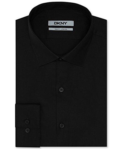DKNY Slim Fit Twill Solid Dress Shirt - Black 17.5 32/33 Dkny Button Down Shirt