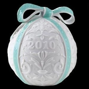 Lladro Annual (2010 Lladro Porcelain Annual Ball Christmas Ornament Original Blue Finish)