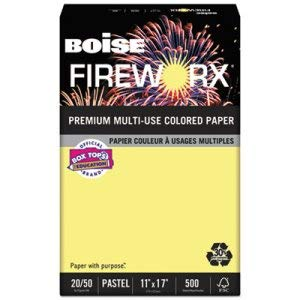 Boise Cascade FIREWORX Colored Paper, 20lb, 11 x 17, Crackling Canary, 500 Sheets/Ream (4 Reams)