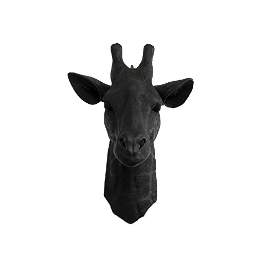 Wall Charmers Faux Giraffe Head Black Fake Ceramic Animal Decorative Resin Mount Replica Taxidermy Plastic Rustic Fauxidermy Antler