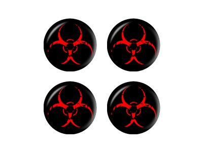 (Graphics and More Zombie Outbreak Response Vehicle Biohazard Red - Wheel Center Cap 3D Domed Set of 4 Stickers)