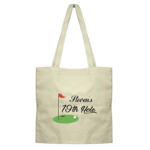 Personalized Custom Text Golf 19th Hole Sports Cotton Canvas Flat Market Tote
