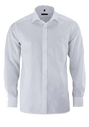 ETERNA uomini Modern Fit Uni Popeline Langarmhemd weiss 42-H Super lang (72cm)