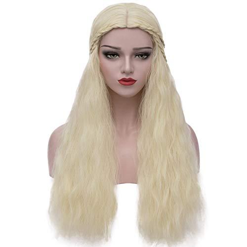Mersi Daenerys Targaryen Wig Khaleesi Cosplay Wigs Long Blonde Braided Fluffy Party Hair Wigs for Halloween (Blonde) S039LG]()