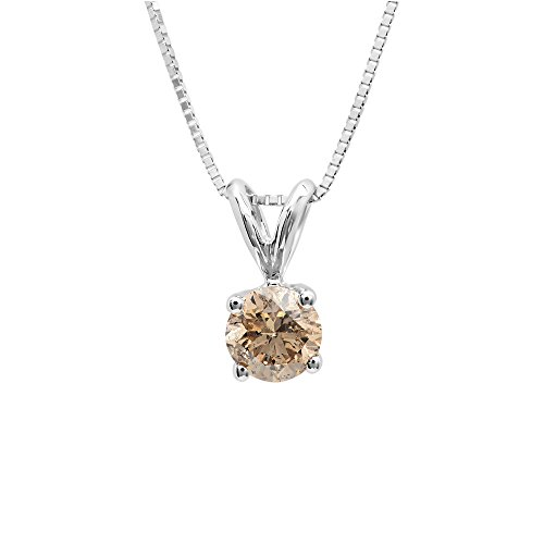 DazzlingRock Collection 0.25 Carat (ctw) 14K White Gold Round Champagne Diamond Ladies Solitaire Pendant 1/4 (0.25 Ct Solitaire)