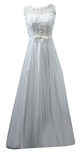 White Elegant A Appliques Scoop Women's Fashion White Train Jaycargogo Court Wedding Open Neck Line Dress Back xBOC6S