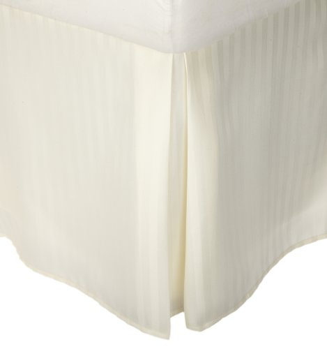 Superior 1500 Series 100% Microfiber Pleated King Bed Skirt Stripe, Ivory - 15 Inch Drop and Wrinkle Resistant ()