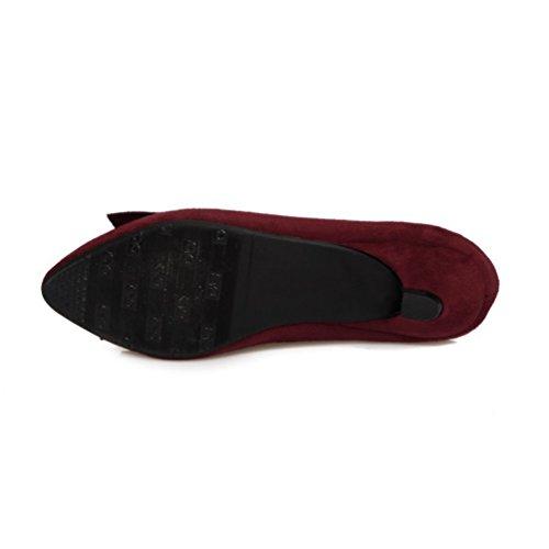Vin YOUJIA avec Bout a Pointu Bowknot Suédine Femmes Escarpin Slip Petit Talon Rouge On Chaussures OqBCwOPf