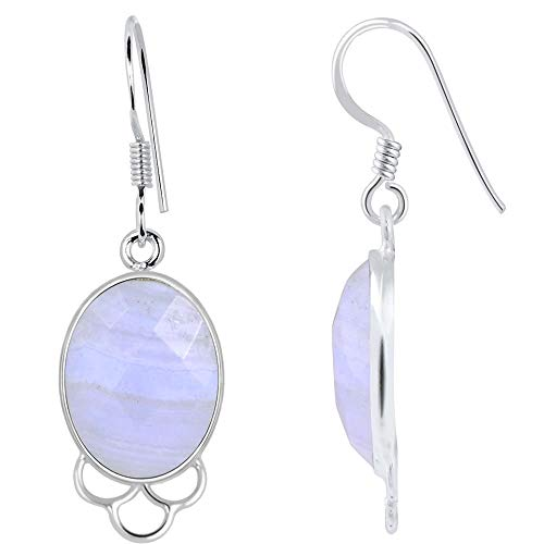 Sterling Silver Agate - 15.7 Ct Blue Lace Agate 925 Sterling Silver Gemstone Earrings