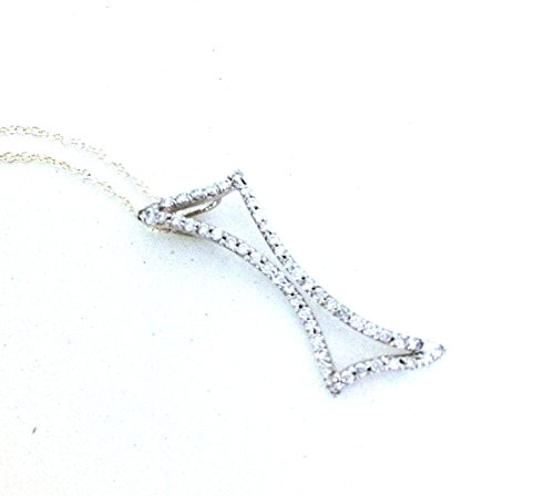 .25 Carats Diamond Encrusted Irregular Rectangle Shape 14k White Gold 16