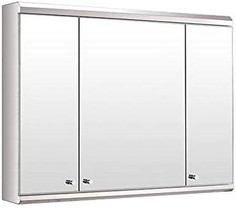 バスルーム ステンレス鋼 ウォールミラーキャビネット、 多目的 ストレージオーガナイザー 薬箱 スペースセーバー 3ドア付き 台所戸棚、 800X550X130mm