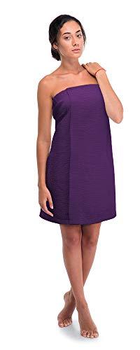 Premium Turkish Cotton Women's Waffle Spa Body Wrap with Adjustable Closure (Small/Medium, Purple)