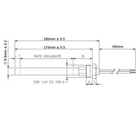 180/mm Bougie // r/ésistance dallumage pour po/êle /à pellets 300 W 170 mm; diam/ètre de 9,9/mm; filetage 3//8/'/' Pour LAMINOX. Easyricambi
