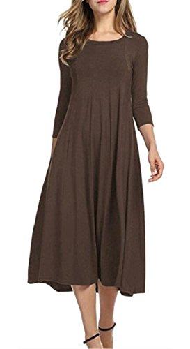Elegant Crewneck Jaycargogo Party Midi Womens Solid Dress 3 Colored 5qCfvC