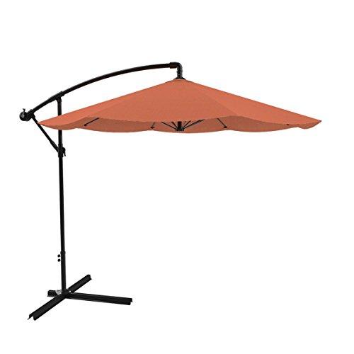Hanging Mesa - Pure Garden Patio Umbrella, Cantilever Hanging Outdoor Shade, Easy Crank and Base for Table, Deck, Balcony, Porch, Backyard, 10 Foot (Terracotta)