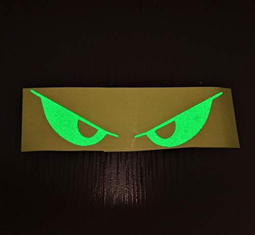 - Green Evil Eyes No Fear Decal Reflective Safety Reflector Devil Demon Sticker 6