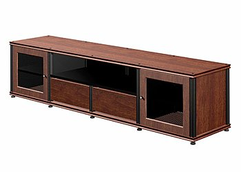 Salamander Designs 245W/B Quad-Width Audio Video Cabinet, Walnut with Black Posts