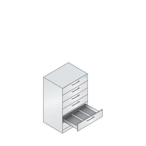 C+P Karteischrank Asisto für Karteikarten DIN A5, 6 Schubladen, dreibahnig, 1-100850-001