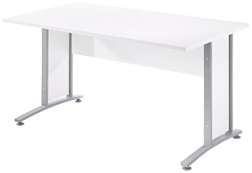 Tvilum 80400/714903 Pierce Foot Desk Top with Metal Legs, 5', White (Off Levelers Roll)