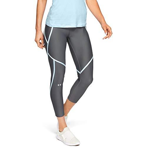 (Under Armour Women's HeatGear Armour Edgelit Ankle Crop Leggings, Pitch Gray (012)/Metallic Silver, Small)