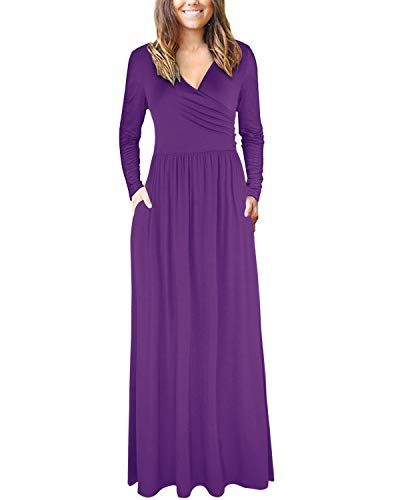 Dresses with Purple Women's Pockets Sleeve Long Long V Neck STYLEWORD Casual x6qWwH0gw
