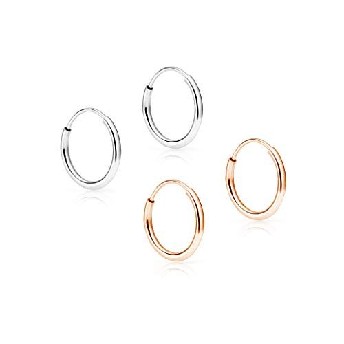 (SOLIDGOLD - 14K Endless Rose and White Gold 10mm Infinity Hoop Sleeper Earrings 2 Pair Set, RW)