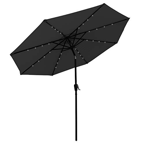 COBANA 9 Ft 32 Solar Powered LED Lighted Outdoor Table Umbrella Aluminum Patio Umbrella, 100% Polyester, Black