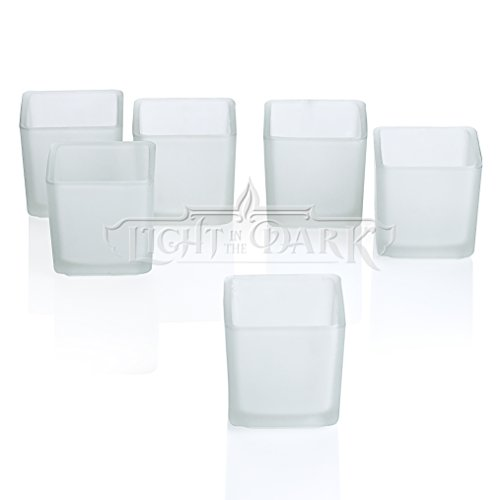 Light In The Dark White Frosted Square Votive Candle Glass Holders Set of 12