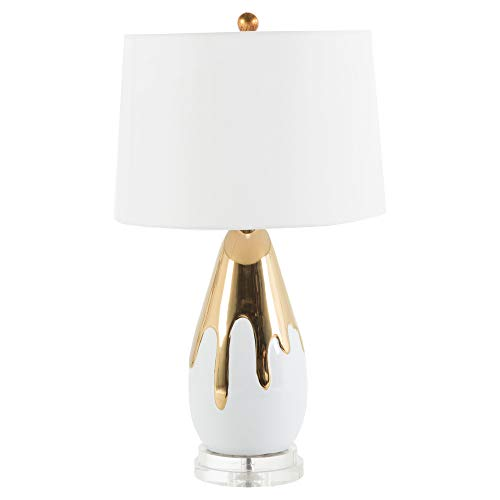 Kathy Kuo Home Herme Modern Classic Gold Drip Lucite Base Ceramic Table Lamp