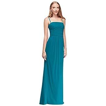 David's Bridal Draped Long Mesh Bridesmaid Dress with Spaghetti Straps Style F19428, Oasis, 2