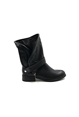 Chaussure en style femme CHIC motard NANA similicuir bottine YAPOAc5q