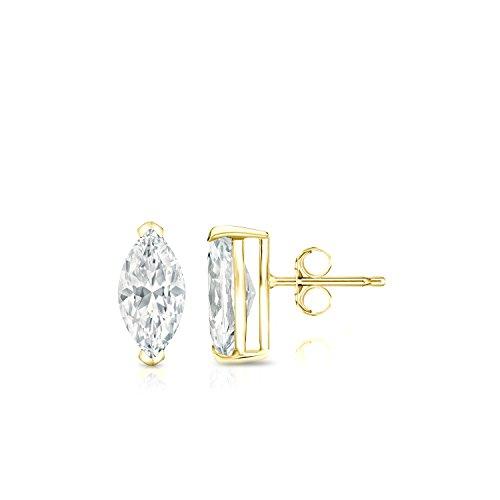 Diamond Wish 14k Yellow Gold Marquise Cut Diamond Stud Earrings (1/2 cttw, G-H, SI1-SI2) V-End Prong set with Push Back - Marquise Cut Diamond Earrings