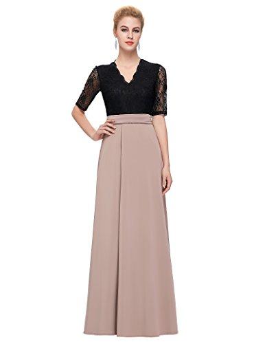 Half Sleeve Long Formal Dresses Lace Wedding Dresses M CL9717-1