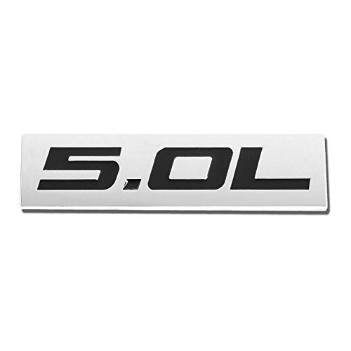 UrMarketOutlet 5.0L Black/Chrome Aluminum Alloy Auto Trunk Door Fender Bumper Badge Decal Emblem Adhesive Tape Sticker