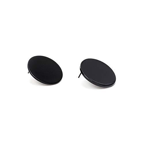 Minimalist Glossy Geometric Big Round Stud Earrings for Women Girls Fashion Charm Gifts (Black)
