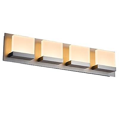 JINZO LED Bathroom Vanity Light Fixture Bathroom Lights-4 Lights Vanity Bar Light Chrome/Brush Nickel Finish