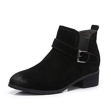 Nubuck Marrón Invierno Otoño Moda De Botas Botas De US8 RTRY EU39 Mujer UK6 Negro CN39 De Zapatos Casual Cuero wxB06HXq