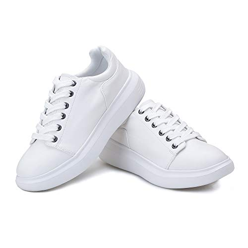 Huahuahuipin Fashion Leather Sneakers Platform Shoes for Women White 7
