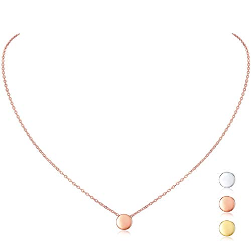 Rose Gold Plated Sterling Silver Dot Necklace Round Circle Bead Floating Pendant Necklace for Women Girls, 16'' ()