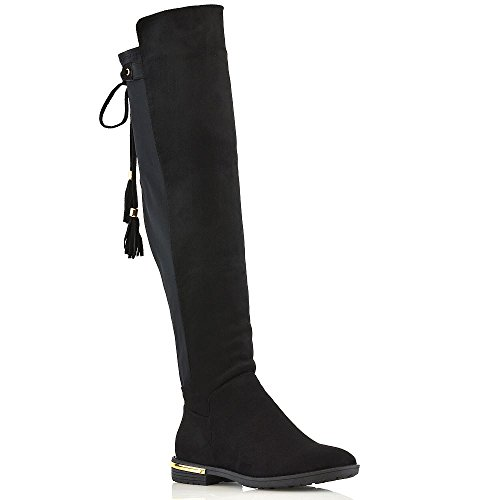 ESSEX tacón negro The New High Knee Womens Ladies Suede Boots borla Trim Over Stretch GLAM Gold Faux plano wZSWw