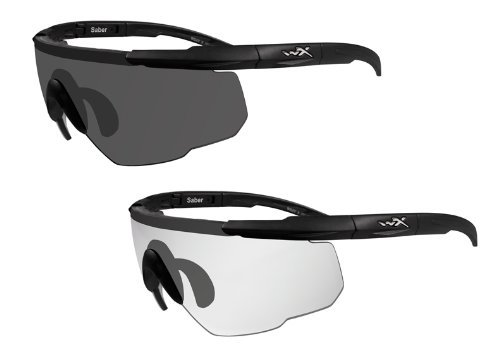Lenses Prescription Wiley X (Wiley X Saber Advanced Sunglasses - Smoke Grey/Clear Lens - 2 Matte Black Frames w/Rx Insert)