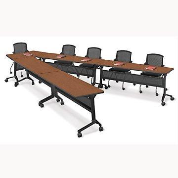 Flip Top Nesting V-Shape Training Table Set (Sunset Cherry Top/Black T-Mold Edge & Base) by OFF