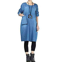 Women's Denim Dresses Long Sleeve Casual Shirt Dress with Unique Pockets